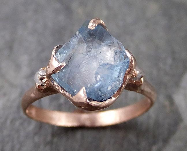 Aquamarine Diamond Raw Uncut rose 14k Gold Engagement Ring Multi stone Wedding Ring Custom One Of a Kind Gemstone Bespoke byAngeline 1271