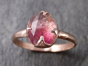 Fancy cut Pink Tourmaline Rose Gold Ring Gemstone Solitaire recycled 14k statement Engagement ring 1263