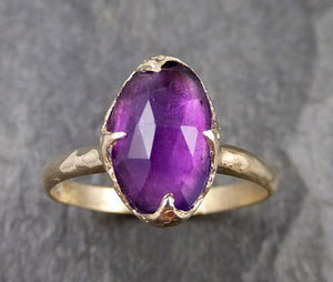 Fancy cut Amethyst Yellow Gold Ring Gemstone Solitaire recycled 14k statement cocktail statement 1274