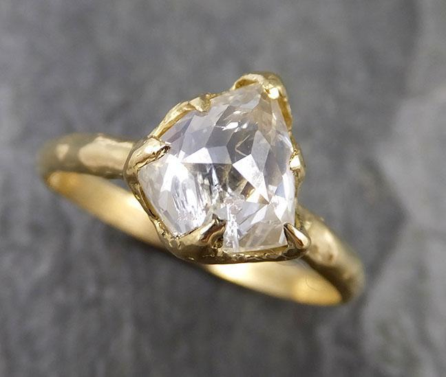 Fancy cut white Diamond Solitaire Engagement 18k yellow Gold Wedding Ring byAngeline 1277