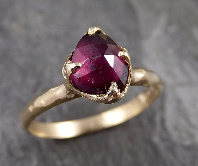 Fancy cut Garnet Gold Ring Gemstone Solitaire recycled 14k statement cocktail statement 1278