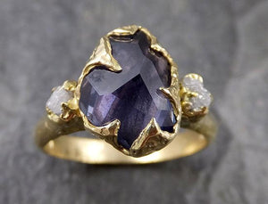 Partially faceted natural sapphire gemstone Raw Rough Diamond 18k Yellow Gold Engagement ring multi stone 1280