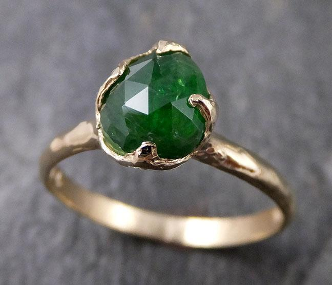 Fancy cut Natural Tsavorite Green Garnet Solitaire Gemstone ring Recycled 14k yellow Gold One of a kind Gemstone ring byAngeline 1281