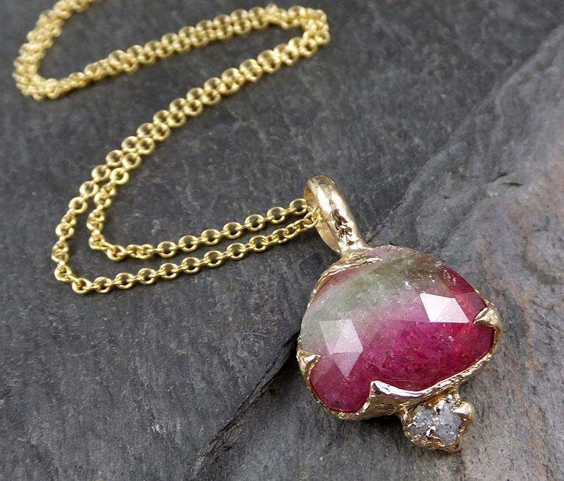 Fancy cut watermelon Tourmaline 14k gold Pendant Gemstone Necklace gemstone Jewelry byAngeline 1284