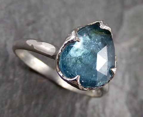Fancy cut blue-green Tourmaline 18k white Gold Ring Gemstone Solitaire recycled statement cocktail statement 1286