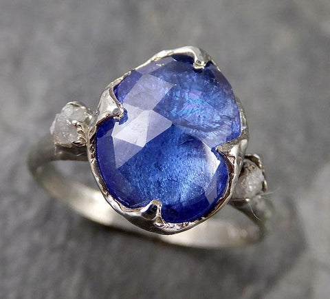 Fancy cut Tanzanite Multi stone 18k recycled White Gold Ring Gemstone stacking cocktail statement byAngeline 1288