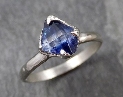 Sapphire Ring Solitaire Naturally crystal faceted Raw 14k white Gold Engagement / Wedding Ring Custom One Of a Kind Gemstone byAngeline 0919