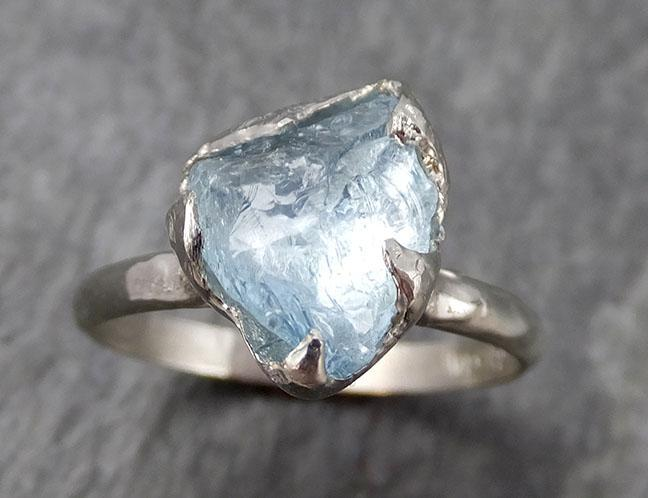 uncut Aquamarine Solitaire Ring Custom One Of a Kind Gemstone Ring Bespoke byAngeline 0922