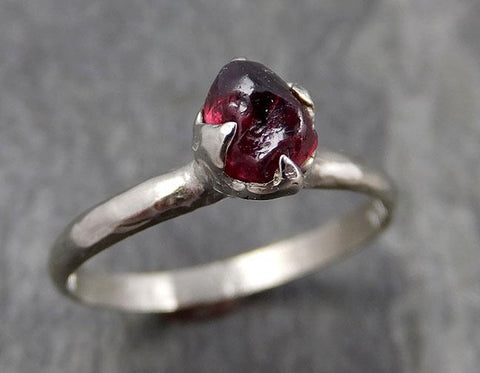 Rough Raw Natural Solitaire red Garnet  Gemstone ring Recycled 14k white Gold One of a kind Gemstone ring byAngeline 0923