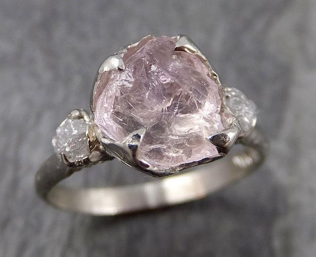 Raw Morganite Diamond 14k white Gold Engagement Ring Multi stone Wedding Ring Custom One Of a Kind Gemstone Ring Bespoke 0926