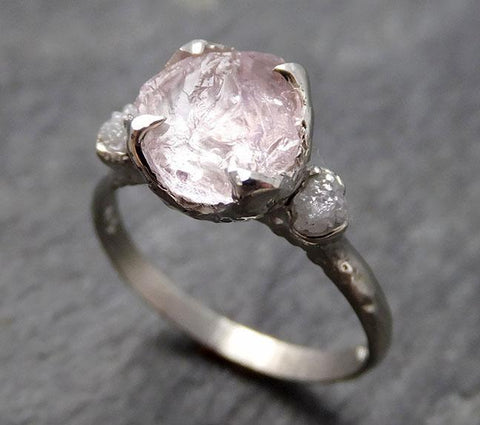 Raw Morganite Diamond 14k white Gold Engagement Ring Multi stone Wedding Ring Custom One Of a Kind Gemstone Ring Bespoke Pink Conflict Free by Angeline 0926