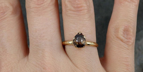 Fancy cut Cognac Diamond Solitaire Engagement 14k Yellow Gold Wedding Ring Diamond Ring byAngeline 0799 - Gemstone ring by Angeline