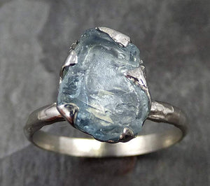 uncut Aquamarine Solitaire Ring Custom One Of a Kind Gemstone Ring Bespoke byAngeline 0494