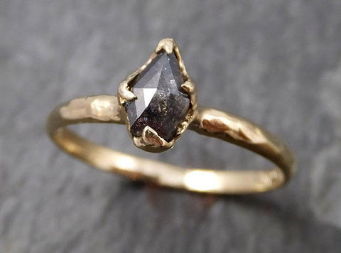 Fancy cut Salt and pepper Diamond Engagement 14k yellow Gold Wedding Ring byAngeline 0800 - Gemstone ring by Angeline