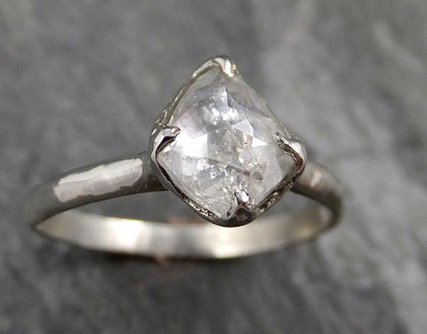 Fancy cut white Diamond Solitaire Engagement 18k White Gold Wedding Ring byAngeline 1291