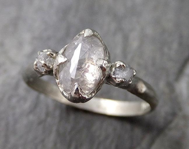 Faceted Fancy cut white Diamond Engagement 14k White Gold Multi stone Wedding Ring Rough Diamond Ring byAngeline 1293