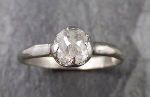Fancy cut White Diamond Solitaire Engagement 14k White Gold Wedding Ring byAngeline 1296