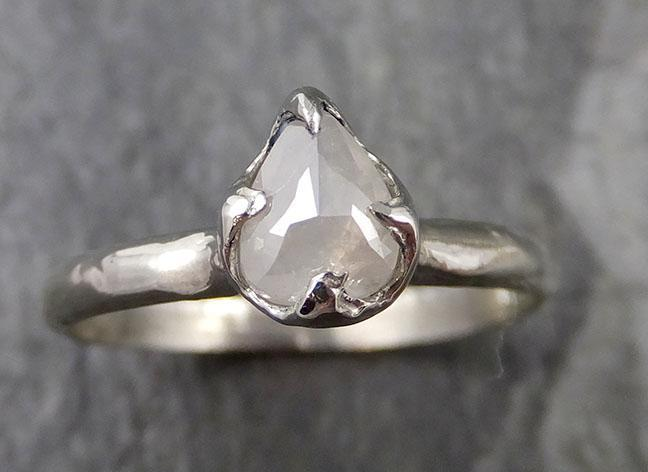 Fancy cut White Diamond Solitaire Engagement 14k White Gold Wedding Ring byAngeline 1297