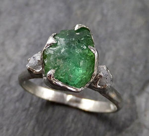Raw Green Tourmaline Diamond White Gold Engagement Ring Wedding Ring One Of a Kind Gemstone Ring Bespoke Multi stone Ring 1301