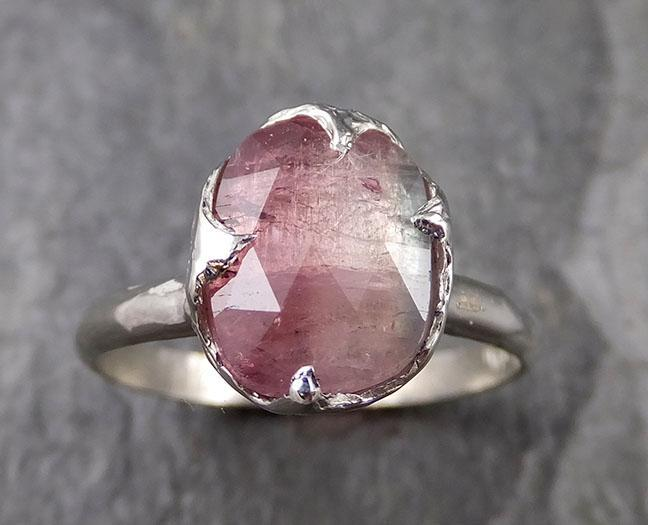 Fancy cut Watermelon Tourmaline White Gold Ring Gemstone Solitaire recycled 14k statement cocktail statement 1307