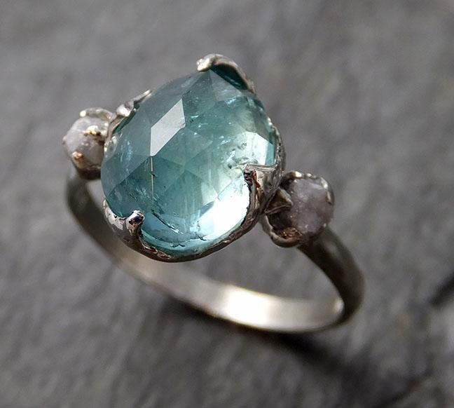 Green Fancy cut Tourmaline rough Diamond Multi stone White Gold Gemstone tourmaline recycled 14k Engagement Wedding Ring 1309