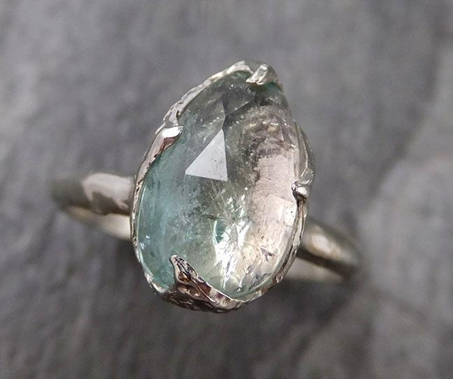 Fancy cut Pastel Green Tourmaline White Gold Ring Gemstone Solitaire recycled 14k statement cocktail statement 1310