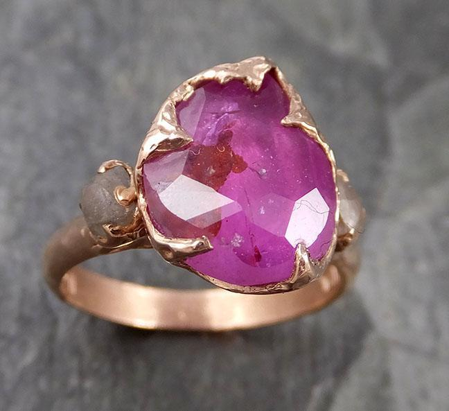 Partially faceted Sapphire gemstone Raw Rough Diamond 14k Yellow Gold Engagement multi stone 1311