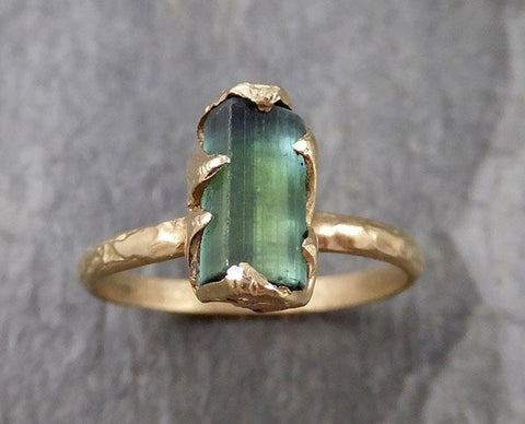 Raw Green Tourmaline yellow Gold Ring Rough Uncut Gemstone solitaire tourmaline recycled 14k cocktail statement byAngeline 1316