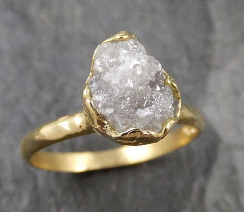 Raw Diamond Engagement Ring Rough Uncut Diamond Solitaire Recycled 18k yellow gold Conflict Free Diamond Wedding Promise 1313