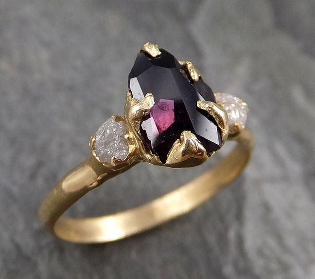 Partially faceted Natural red Garnet Gemstone Multi stone ring Recycled 14k Gold One of a kind Gemstone ring 1314