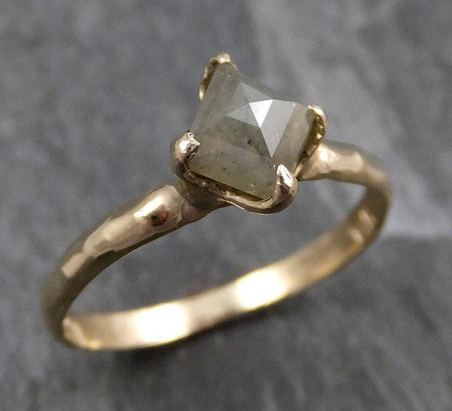 Fancy cut Gray Diamond Solitaire Engagement 14k Yellow Gold Wedding Ring byAngeline 0803 - Gemstone ring by Angeline