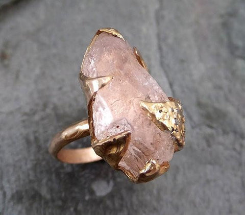 Raw Rough Morganite Diamond 14k Rose gold Ring Gold Pink Gemstone Cocktail Ring Statement Ring Raw gemstone Jewelry - Gemstone ring by Angeline