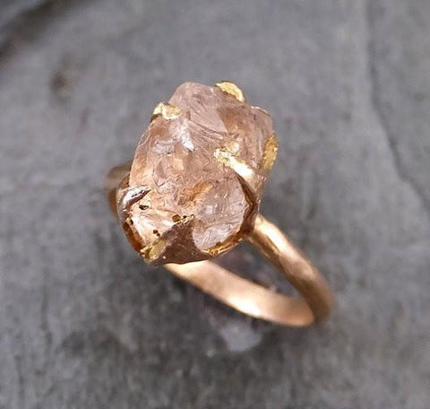 Raw Rough Morganite 14k Rose gold Ring Gold Pink Gemstone Cocktail Ring Statement Ring Raw gemstone Jewelry - Gemstone ring by Angeline