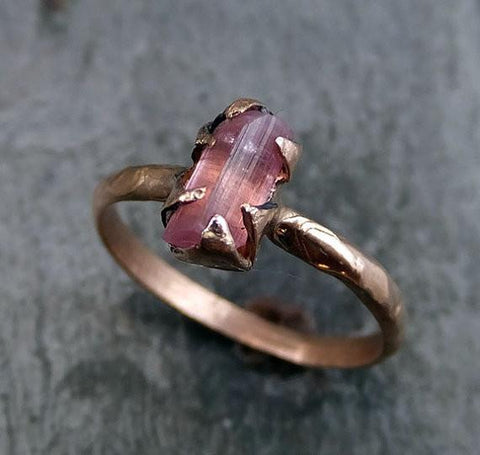 Raw Pink Tourmaline Rose Gold Ring Rough Uncut Pastel Pink Gemstone Promise engagement wedding recycled 14k Size stacking - Gemstone ring by Angeline