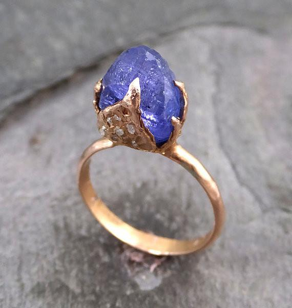Raw Tanzanite Crystal Rose Gold Ring Rough Uncut Gemstone tanzanite diamond recycled 14k stacking cocktail statement - Gemstone ring by Angeline