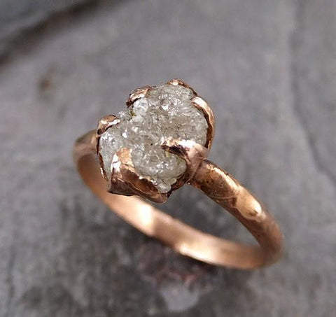 Raw Diamond Solitaire Engagement Ring Rough 14k rose Gold Wedding Ring diamond Stacking Ring Rough Diamond Ring R039 - Gemstone ring by Angeline