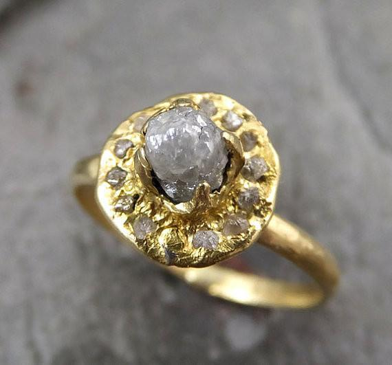 Raw Rough Diamond Halo Engagement 18k yellow Gold Wedding Ring Multi stone diamond Stacking Ring Rough Diamond Ring 0050 - Gemstone ring by Angeline