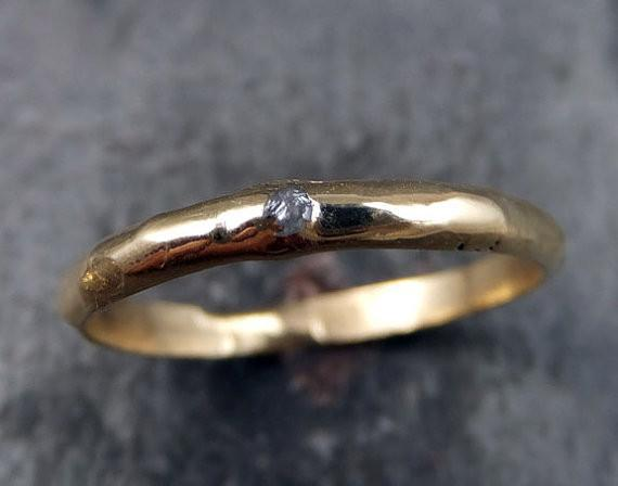 Raw Rough Uncut Diamond Wedding Band 14k Gold Wedding Ring - Gemstone ring by Angeline