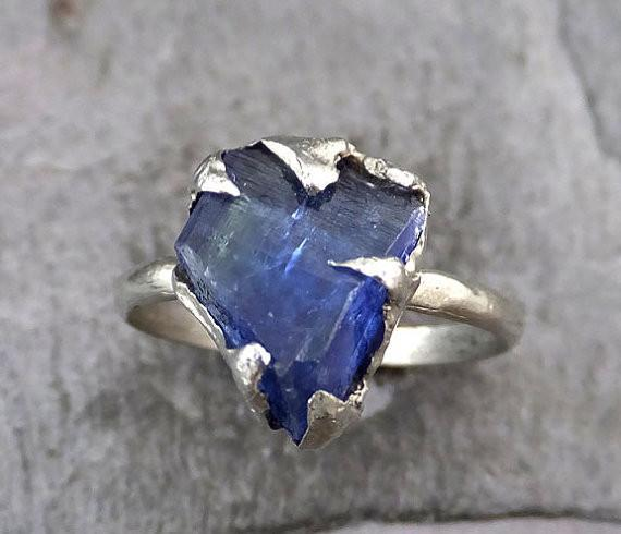 Raw Tanzanite Crystal White Gold Ring Rough Uncut Gemstone tanzanite recycled 14k stacking cocktail statement - Gemstone ring by Angeline