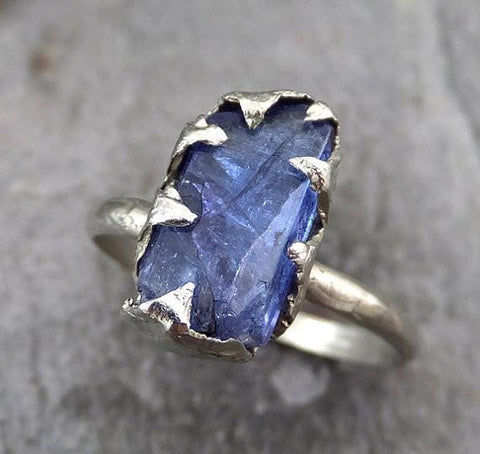 Raw Tanzanite Crystal White Gold Ring Rough Uncut Gemstone tanzanite recycled 14k stacking cocktail statement 0088 - Gemstone ring by Angeline