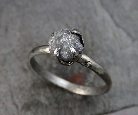 Raw Rough UnCut Diamond Engagement Ring Rough Diamond Solitaire 14k white gold Conflict Free Diamond Wedding Promise - Gemstone ring by Angeline