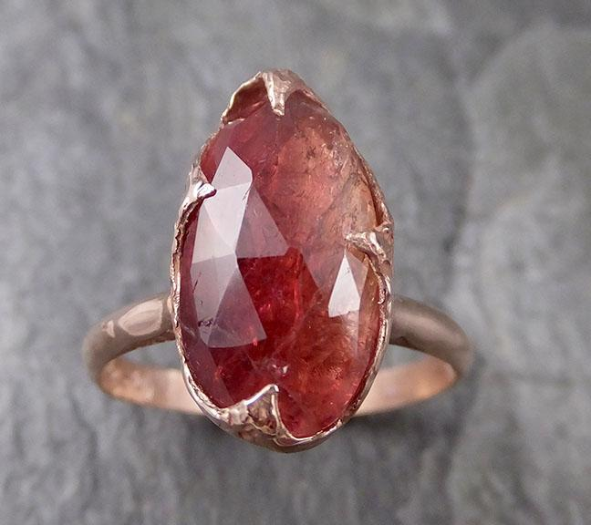 Fancy cut watermelon Tourmaline Rose Gold Ring Gemstone Solitaire recycled 14k statement cocktail statement 1315