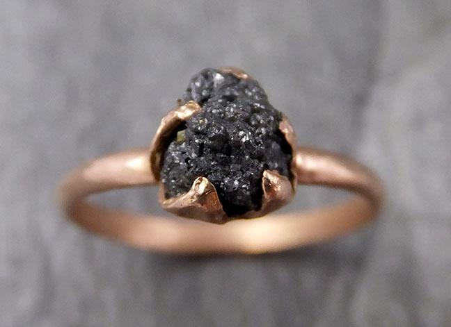 Raw Diamond Solitaire Engagement Ring Rough 14k rose Gold Wedding diamond Stacking Rough Diamond byAngeline 1330