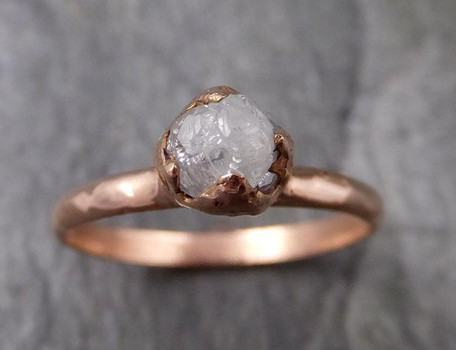 Raw White Diamond Solitaire Engagement Ring Rough 14k rose Gold Wedding diamond Stacking Rough Diamond byAngeline 1317