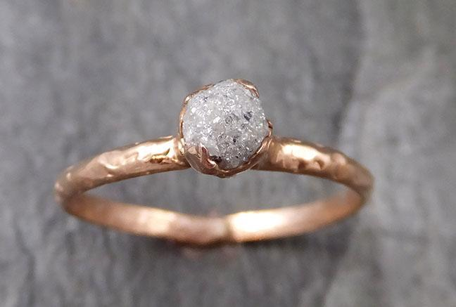 Raw White Diamond Solitaire Engagement Ring Rough 14k rose Gold Wedding diamond Stacking Rough Diamond byAngeline 1319