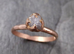Raw gray Diamond Solitaire Engagement Ring Rough 14k rose Gold Wedding diamond Stacking Rough Diamond byAngeline 1322