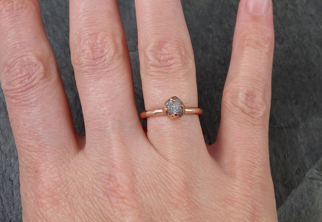 Raw gray Diamond Solitaire Engagement Ring Rough 14k rose Gold ...