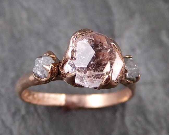 Partially Faceted Morganite Diamond 14k Rose Gold Engagement Ring Multi stone Wedding Ring Custom One Of a Kind Gemstone Ring Bespoke Pink Conflict Free by Angeline 1323