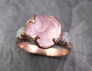 Partially Faceted Morganite Diamond 14k Rose Gold Engagement Ring Multi stone Wedding Ring Custom One Of a Kind Gemstone Ring Bespoke Pink Conflict Free by Angeline 1324