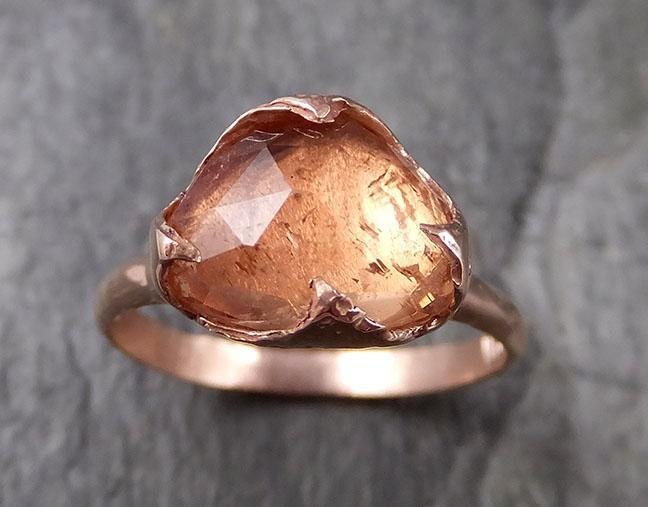 Fancy cut Peach Tourmaline Rose Gold Ring Gemstone Solitaire recycled 14k statement cocktail statement 1325